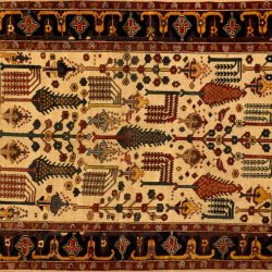"Bakhtiari rectangular 4' 8"" by 5' 6""rug with all-over pattern from Persia-Iran 