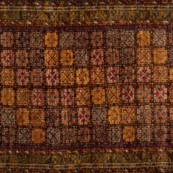 "Balouch rectangular 3' 7"" by 5' 1"" rug with geometric pattern from Afghanistan"
