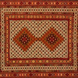 "Balouch rectangular 4' 1"" by 6' 3"" rug with geometric pattern from Afghanistan"