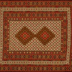 "Balouch rectangular 4' 3"" by 6' 8"" rug with geometric pattern from Afghanistan"