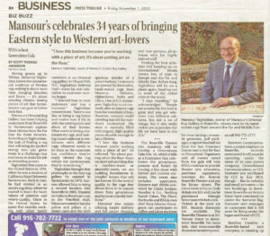 The Press Tribune warmly congratulated Mansour on his 34 years of making it possible for customers to rug shop confidently