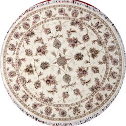 Nain round 5ft rug with floral pattern from China