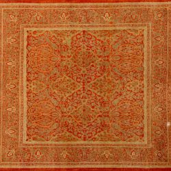 "Tabriz square 4' 1"" by 4' 6"" rug with floral pattern from Pakistan - Bronze & Khaki"