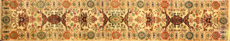 "Mahal runner 2' 6"" by 12' 3"" rug with all-over pattern from India - Ivory & Green"