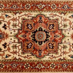 "Serapi runner 2' 7"" by 5' 8"" rug with medallion pattern from India - Beige & Rust"