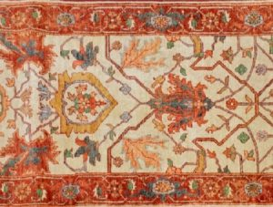 "Heriz runner 2' 7"" by 8' 1"" rug with all-over pattern from India - Beige & rust"