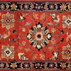 "Mahal runner 2' 0"" by 5' 11"" rug with all-over pattern from India - Rust & Navy Blue"
