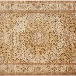 "Kerman rectangular 10' 0"" by 13' 10"" rug with medallion pattern from India - Ivory & multi color"