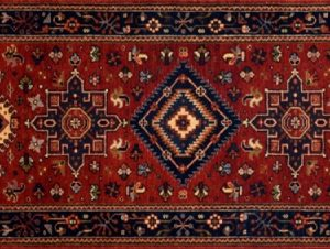 "Karajeh runner 2' 1"" by 8' 0"" rug with geometric pattern from India - red & navy blue"