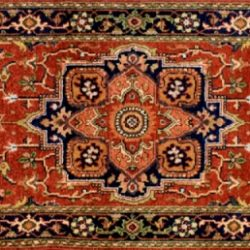 "Serapi runner 2' 6"" by 5' 11"" rug with medallion pattern from India - Rust & Navy Blue"