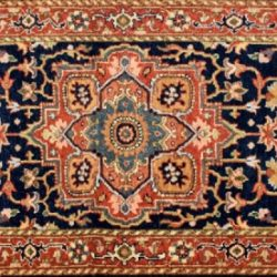 "Serapi runner 2' 7"" by 6' 0"" rug with medallion pattern from India - Navy Blue & Rust"