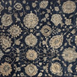 "Sultanabad rectangular 7' 11"" by 10' 1"" rug with all-over pattern from India - Navy Blue & Silver"