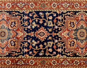 "Serapi runner 2' 6"" by 7' 9"" rug with medallion pattern from India - Navy Blue & Rust"