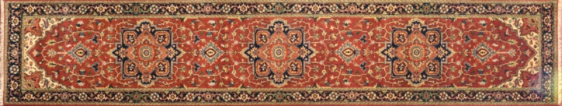 "Serapi runner 2' 6"" by 12' 0"" rug with medallion pattern from India - Rust & Navy Blue"