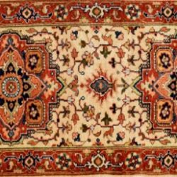 "Serapi runner 2' 0"" by 5' 9"" rug with medallion pattern from India - Beige & Rust"