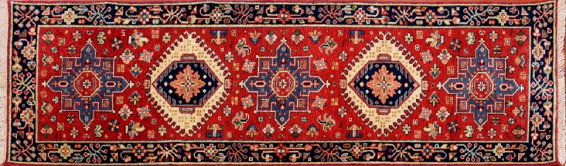 "Karajeh runner 2' 1"" by 5' 11"" rug with geometric pattern from India - red & navy blue"