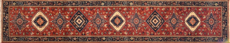 "Karajeh runner 2' 6"" by 11' 10"" rug with geometric pattern from India - rust & navy blue"