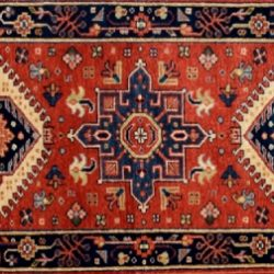 "Karajeh runner 2' 0"" by 5' 11"" rug with geometric pattern from India - rust & navy blue"
