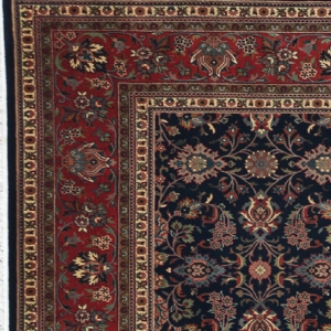 "Kashmar rectangular 10' 0"" by 14' 0"" rug with all-over pattern from India - Navy blue & rust"