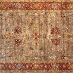 "Serapi rectangular 9' 9"" by 14' 0"" rug with all-over pattern from India - Brown & Rust"