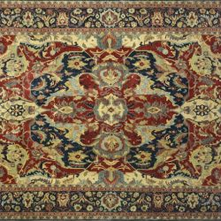 "Serapi rectangular 10' 0"" by 14' 0"" rug with all-over pattern from India - Rust & Navy Blue"