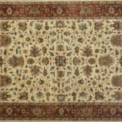 "Heriz rectangular 9' 11"" by 13' 9"" rug with all-over pattern from India - ivory & rust"