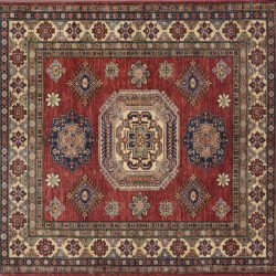 "Kazak square 5' 0"" by 5' 0"" rug with geometric pattern from Afghanistan - red & Ivory"