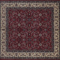 "Tabriz square 8' 2"" by 8' 4"" rug with floral pattern from Pakistan - Rose & Ivory"
