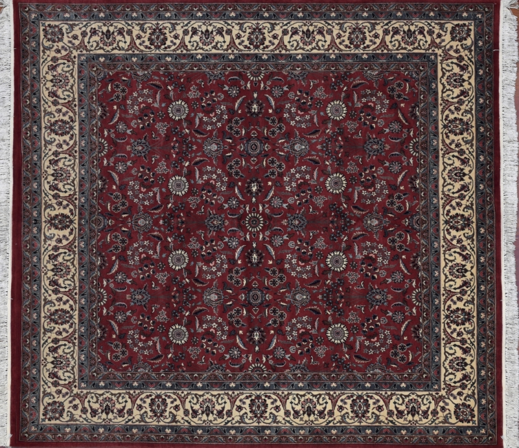 Square Pakistan Tabriz Rug In Rose And Ivory