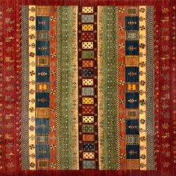 "Gabbeh rectangular 8' 4"" by 9' 5"" rug with geometric pattern from Afghanistan"