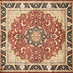 "Tabriz square 4' 10"" x 4' 10"" rug with medallion pattern from China - red & navy blue"