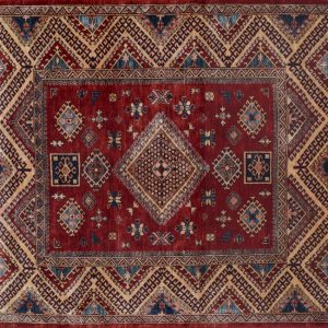 "Kazak square 6' 3"" by 6' 3"" rug with geometric pattern from Afghanistan - red & multi-color"