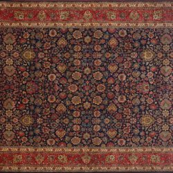 "Tabriz rectangular 10' 0"" by 14' 0"" rug with all-over pattern from India - Navy Blue & Rust"