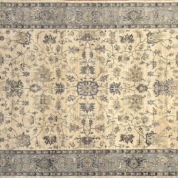 "Sultanabad rectangular 9' 9"" by 13' 10"" rug with all-over pattern from India - Gray & Beige"