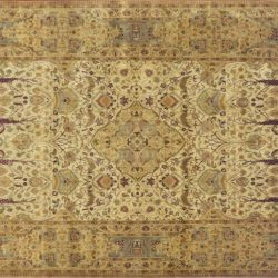 "Kerman rectangular 10' 0"" by 13' 10"" rug with medallion pattern from India - Ivory & light blue"