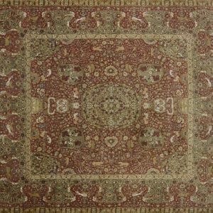 "Tabriz square 12' 0"" by 12' 0"" rug with all-over pattern from India - Multi-colored"