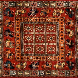 "Pazyryk square 3' 10"" by 4' 0"" rug with geometric pattern from Afghanistan - red & navy blue"