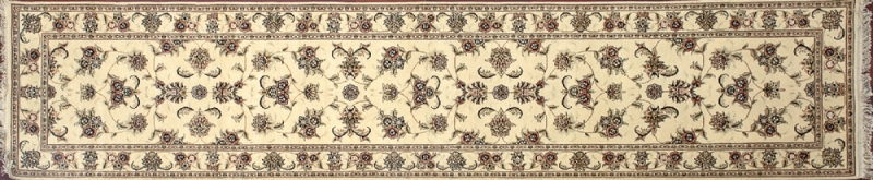 "Tabriz runner 2' 5"" by 12' 0"" rug with all-over pattern from China - Ivory & ivory - SKU$ 15453"