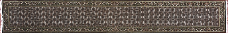 "Tabriz runner 2' 5"" by 16' 1"" rug with all-over pattern from India - Black & Multi"