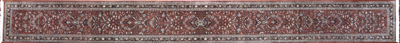 "Sarouk runner 2' 5"" by 23' 10"" rug with all-over pattern from India - Rust & Navy Blue - Very long"