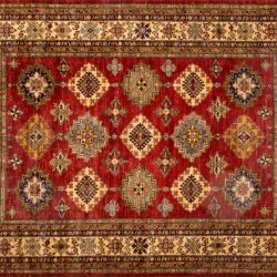 "Kazak rectangular 8' 3"" by 10' 1"" rug with geometric pattern from Pakistan - Red & Ivory"