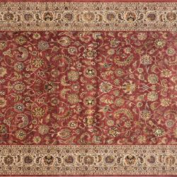 "Nain rectangular 9' 10"" by 13' 9"" rug with all-over pattern from India - Raspberry & Taupe"