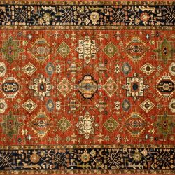 "Karajeh rectangular 9' 2"" by 11' 11"" rug with geometric pattern from Afghanistan"