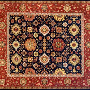 "Mahal square 8' 0"" by 8' 0"" rug with all-over pattern from India - Navy blue & Rust"