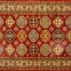 "Kazak rectangular 8' 7"" by 12' 1"" rug with geometric pattern from Pakistan - Red & Ivory"
