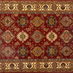 "Kazak rectangular 8' 3"" by 9' 11"" rug with all-over pattern from Pakistan - Red & Ivory"