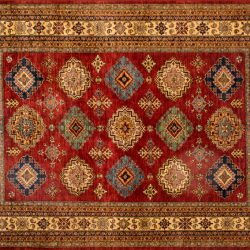 "Gabbeh rectangular 8' 2"" by 9' 9"" rug with geometric pattern from Afghanistan"