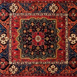 "Tafresh square 4' 10"" by 5' 6"" rug with medallion pattern from Afghanistan"