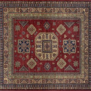 "Kazak square 6' 0"" by 6' 0"" rug with geometric pattern from Pakistan - Red & Ivory - SKU 14879"