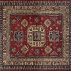 "Kazak square 6' 0"" by 6' 0"" rug with geometric pattern from Pakistan - Red & Ivory"